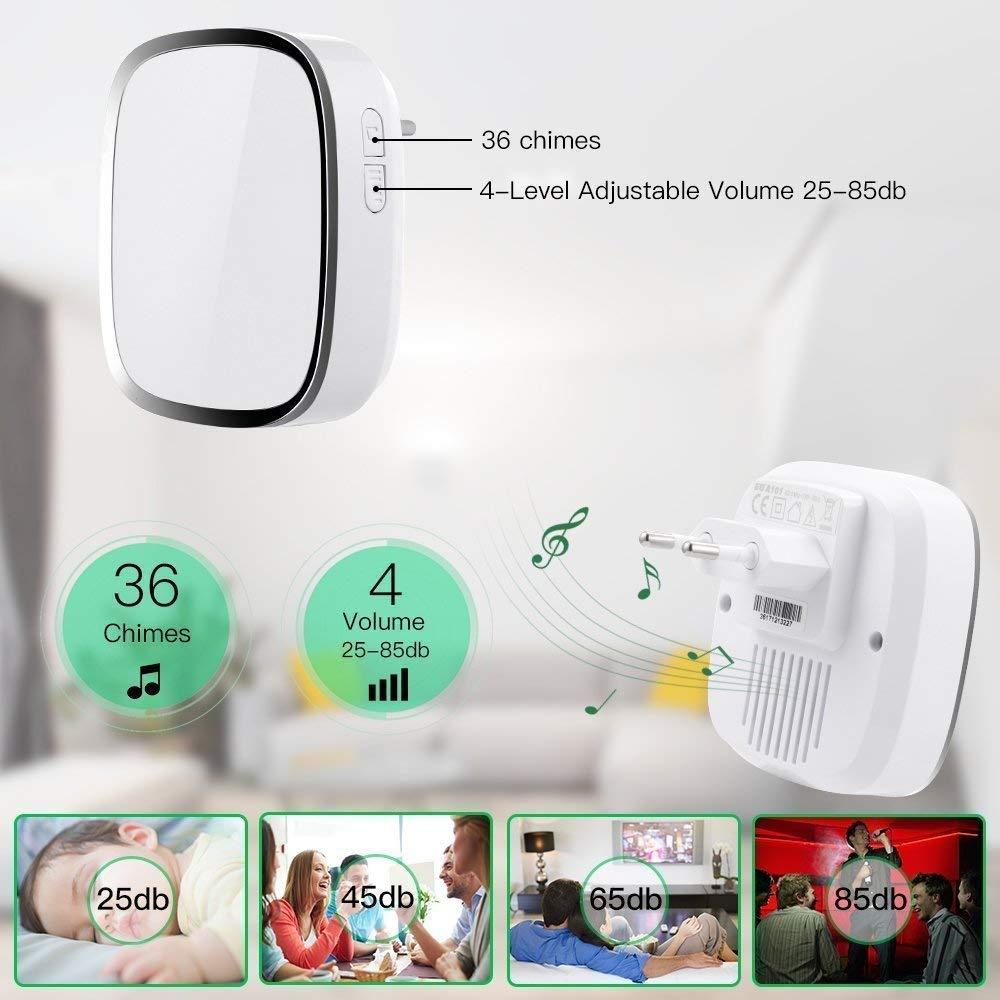 Campanello Senza Fili da Impermeabile Wireless Doorbell Con Raggio d\'Azione di 300m 36 Suonerie 4 Volume Regolabile, 1 Trasmettitore e 1 Ricevitore per Casa, Negozio, Ufficio