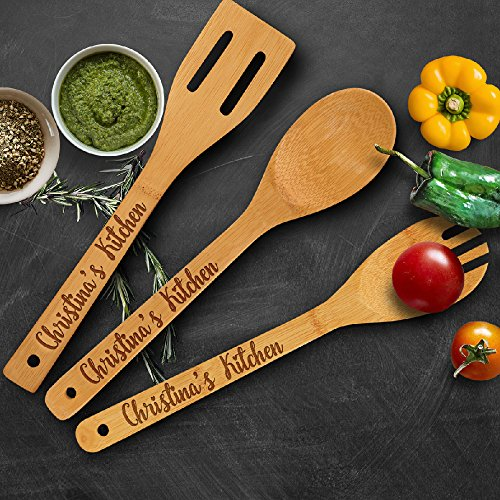 (P Lab Personalized Utensil Set, Custom Name's Kitchen - Spoon, Slotted Spoon, and Spatula for Christmas & Mother's Day Gift - Premium Custom)