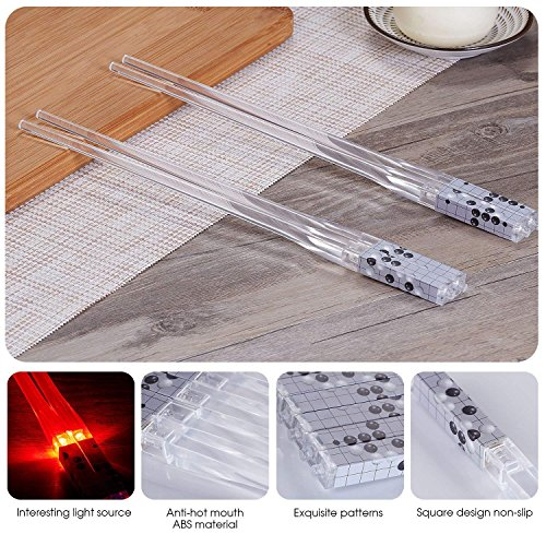 Lightsaber Chopsticks Light Saber Chopsticks Light Up Chop Sticks Reusable Funny Gift for Party 2 Pairs (Red Blue) by SFUN (Image #5)