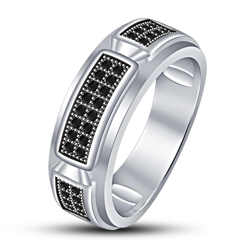 21da0c7a7d8a ... anillo para las mujeres. 80% OFF Vorra moda chapado en platino RD Corte  Negro CZ de la boda banda