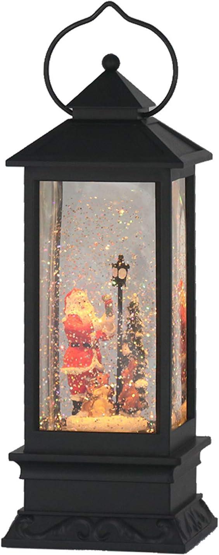 Eldnacele Christmas Snow Globe Lantern with Music, Battery Operated Lighted Swirling Glitter Water Lantern with Timer for Christmas Home Decoration, Santa