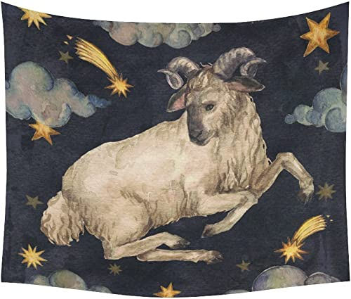 INTERESTPRINT Vintage Retro Aries Painting Home Decor Wall Art, Zodiac Signs Aries Tapestry Wall Hanging Art Sets 60 X 51 Inches