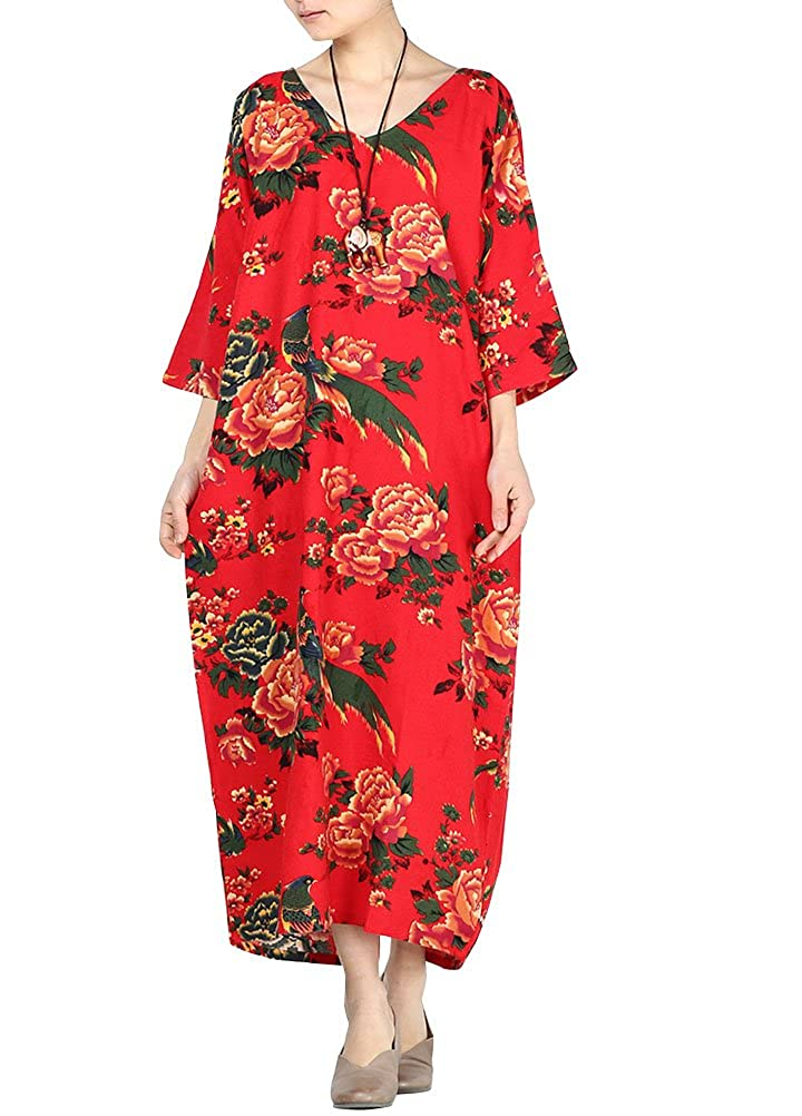 e9158371bf76 Minibee Women s Retro V-Neck Floral Print Dress with Pockets Fit US S-L