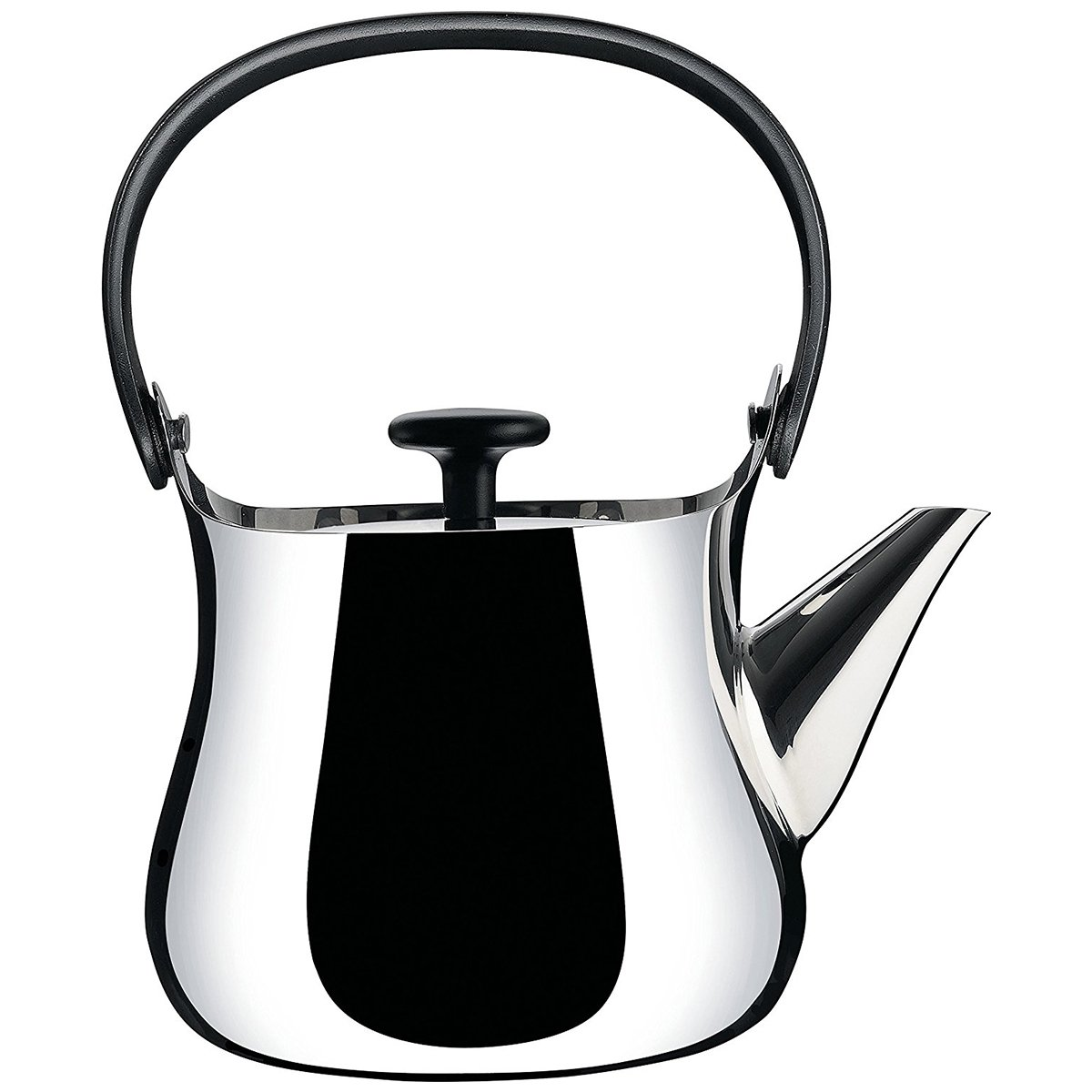 Alessi ''Cha'' Kettle/Teapot in 18/10 Stainless Steel Mirror Polished Handle And Knob in Thermoplastic Resin Magnetic Steel Bottom Suitable For induction Cooking, Silver