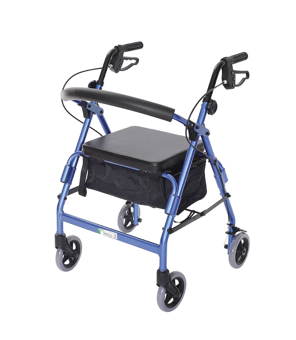 Essential Medical Supply W1650b-1 Feather light 4 Wheel Walker with loop Hand Brakes, Blue