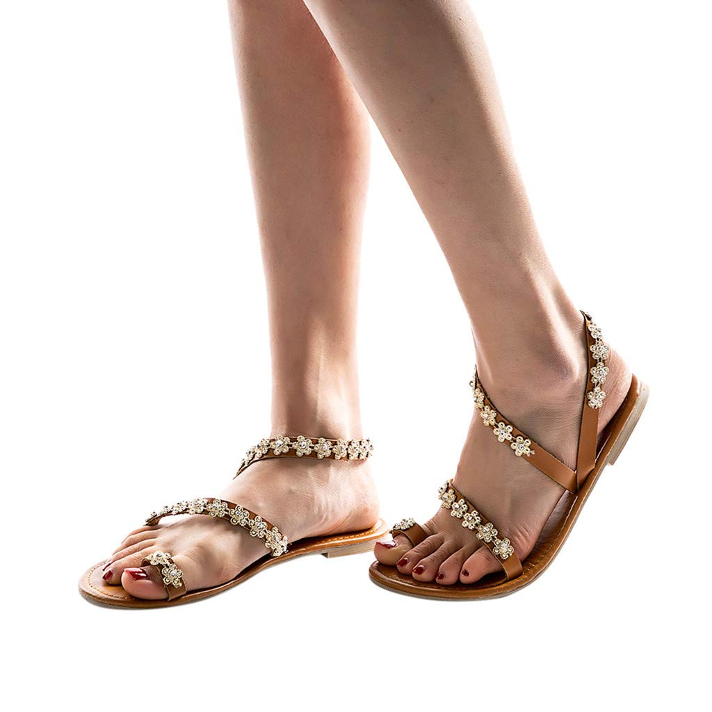 Women's Open Toe Sandals,CSSD Ladies's Rhinestones Chains Flat Gladiator Sandals Wedding Party Brown Shoes (8.5, Brown)