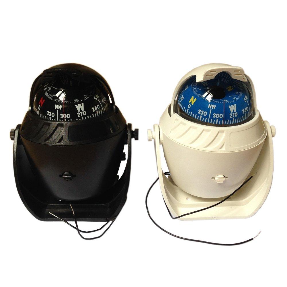 ピラミッド電子デジタル釣りアウトドアコンパスLED Marine車ボートキャラバンナビゲーションハイキングキャンプコンパスホワイトとブラック色使用可能 B01KALLLW4  ホワイト