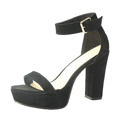 bad2d9732ef Women's High Platform Sandals Ankle Strap Chunky Block Heels Open Toe Shoes  Roman Sandals (35