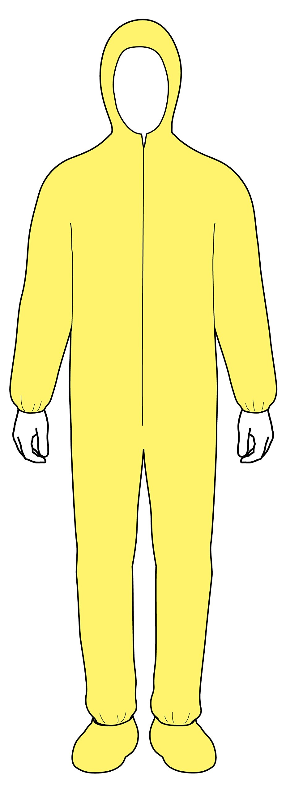 Lakeland ChemMax 1 Polyethylene/Polypropylene Serged Seam Disposable Coverall with Hood and Boots, Elastic Cuff, 2X-Large, Yellow (Case of 25) by Lakeland Industries Inc (Image #3)