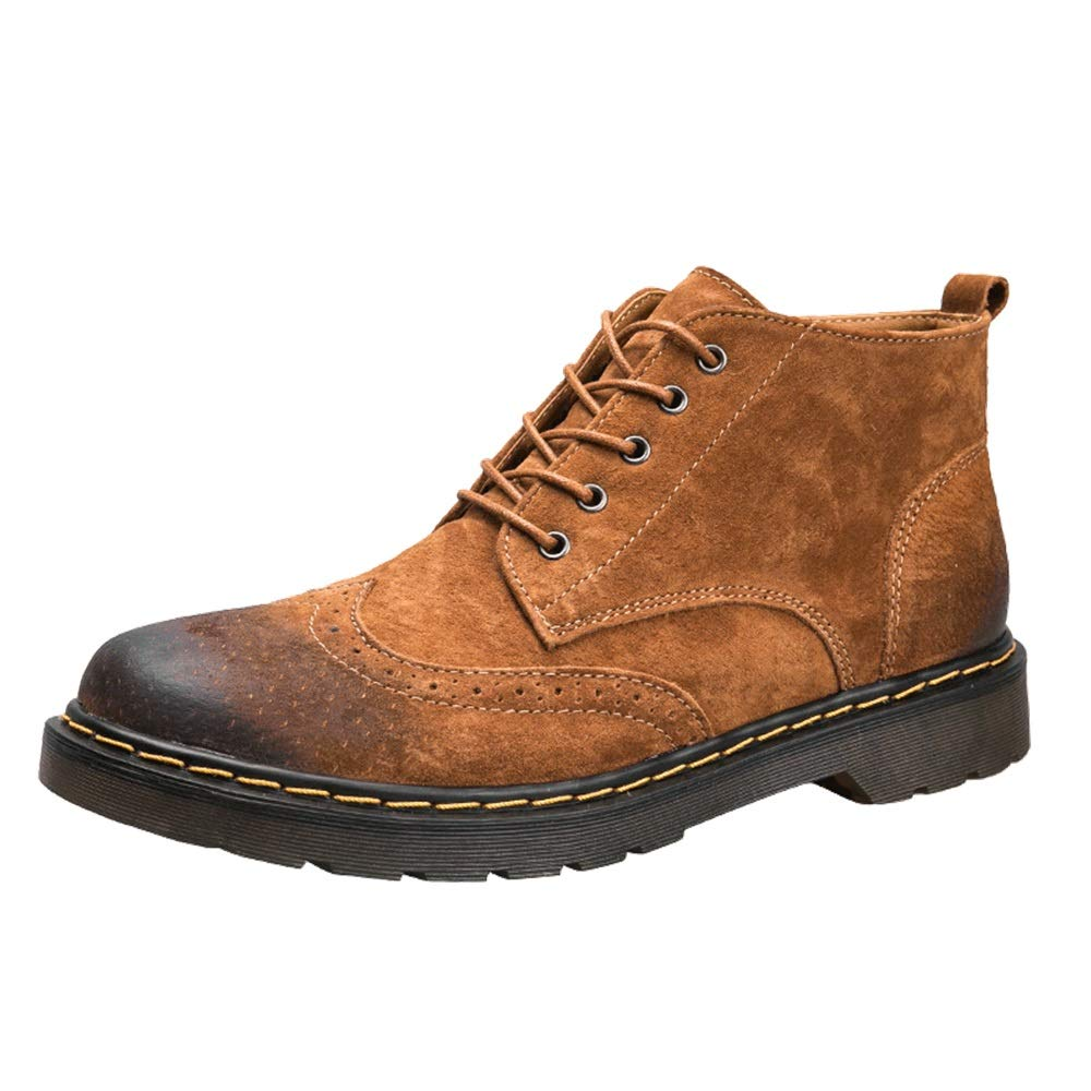 Brown XHD-Men's shoes PU Leather shoes Men's Fashion Ankle Boot Casual Simple and Comfortable Retro Brogue Style Lacing up High Top Boot