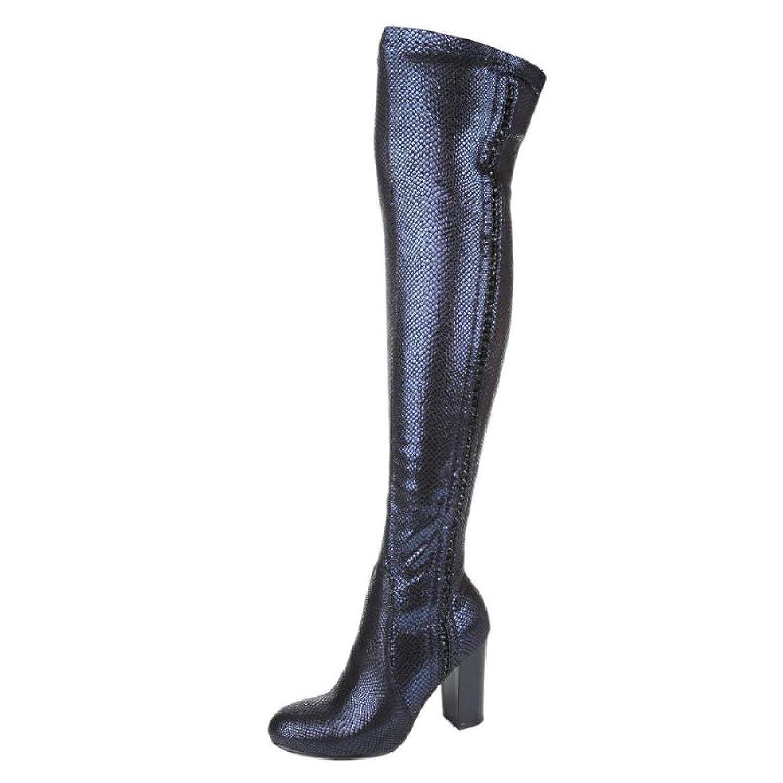 Cingant Woman Damen Overknee Stiefel/Flache Sohle/Hoher Blockabsatz/Stiefel/Damenschuhe/Navy/Blau
