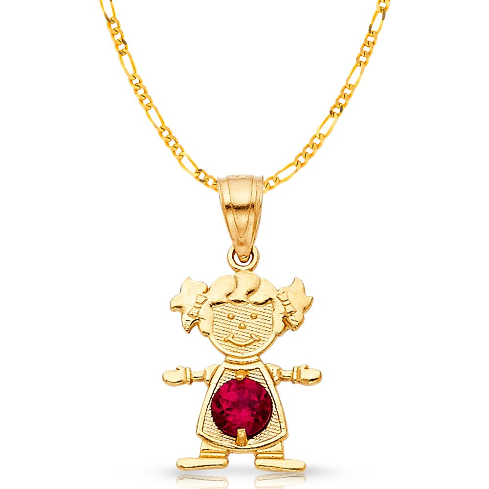 14K Yellow Gold July Birthstone Cubic Zirconia CZ Girl Charm Pendant with 2mm Figaro 3+1 Chain Necklace
