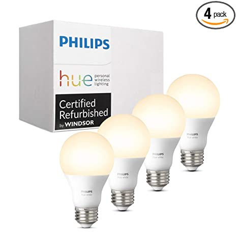 Philips Hue White A19 4-Pack 60W Equivalent Dimmable LED Smart Bulb (Compatible with Amazon Alexa Apple HomeKit and Google Assistant) (Renewed)