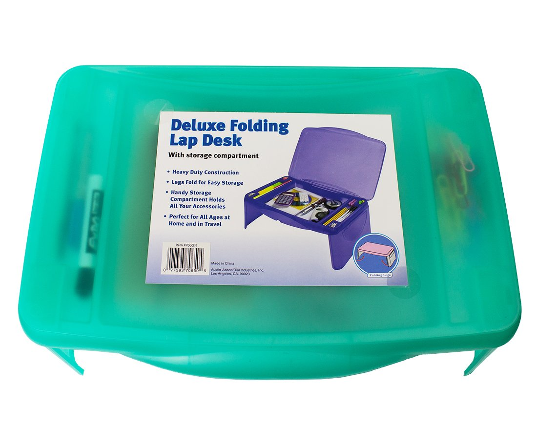 Deluxe Green Lap Desk Table with Foldable Legs - Portable Table with Flip Top Storage Compartment for Pencils, School Supplies, Accessories - 17.5 Inches by Dial (Image #3)
