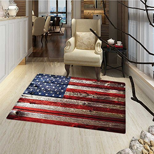 Rustic American USA Flag Bath Mats for floors Fourth of July