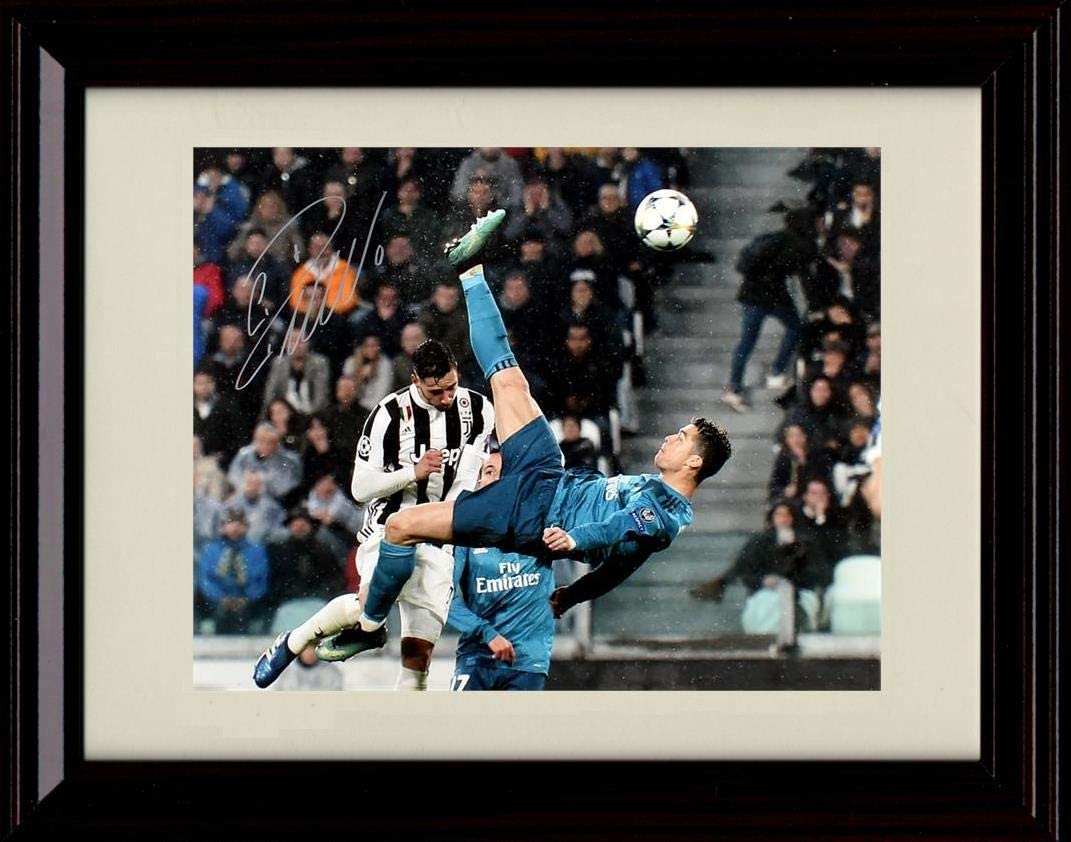 Amazon Com Framed Cristiano Ronaldo Autograph Replica Print Real Madrid Bicycle Kick Posters Prints