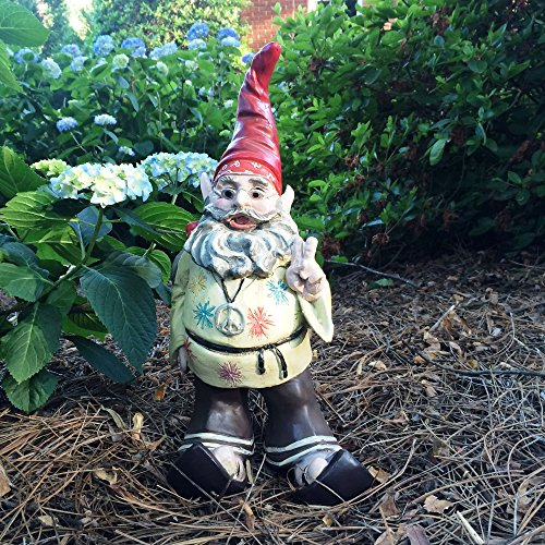 """Cheap 1970's Hippie Dude """"Jerry G"""" Gnome Home and Garden Statue Figurine"""