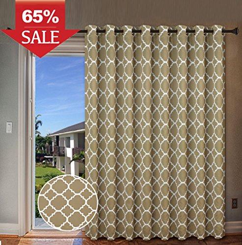 Antique Pattern (H.Versailtex Beautiful Quatrefoil Pattern Thermal Insulated Blackout Patio Curtains, Antique Grommet Decorative Sliding Door Curtain Panel, W100 x L84 inch-Taupe (Set of 1))