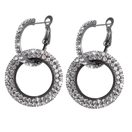 90fadf494c Amazon.com: Weiy Glittering Round Circle Crystal Dangle Earrings ...