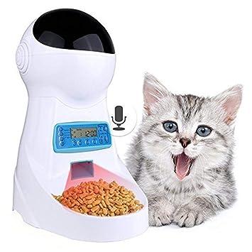 V.JUST Alimentador Automático De Alimentos para Mascotas 3L con Grabación De Voz/Tazón De Pantalla LCD para Medio Dispensadores Pequeños De Gatos para ...