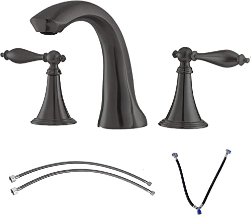 Ufaucet Solid Brass Two Handle Three Hole Widespread Bathroom Faucet, Black Bathroom Sink Faucet with Hot and Cold Water Supply Hoses