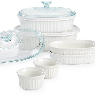 Corningware French White 10-Pc. Bakeware Set, Only at Macy's - Bakeware - Kitchen - Macy's
