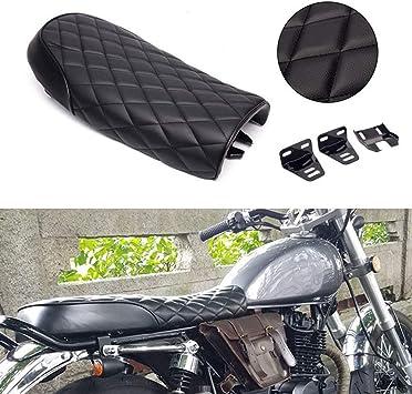 Motorcycle Flat Brat Vintage Saddle Cafe Racer Seat Universal Fit Black