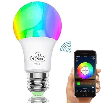 Bombilla LED inteligente, bombillas WiFi 40W Equivalente, regulable Color cambiante RGBW con control remoto