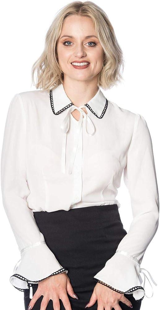 Banned Apparel Caroline 50s Vintage Formal Mujer con Cuello Camisa Blusa - Blanco, XS: Amazon.es: Ropa y accesorios