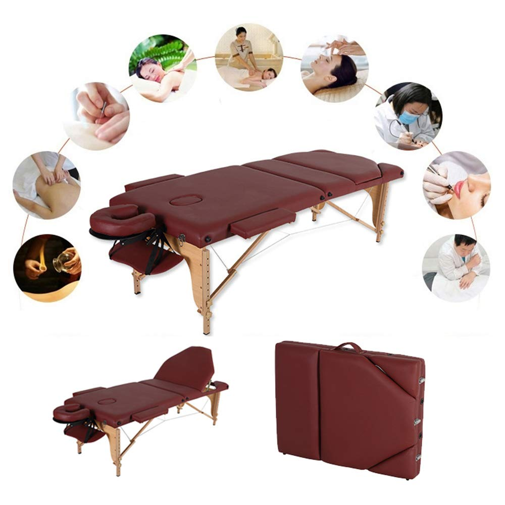WGIRL Portable Massage Bed Table 3-Section Foldable Beauty Couch for Reiki Therapy Treatment Salon Healing - Metal Headrest Support/Carry Bag by WGIRL