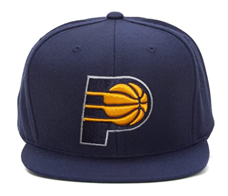 super popular 548b5 89426 Indiana Pacers NBA Mitchell   Ness Team Logo Solid Wool Adjustable Snapback  Hat (Navy). Roll over image to zoom in