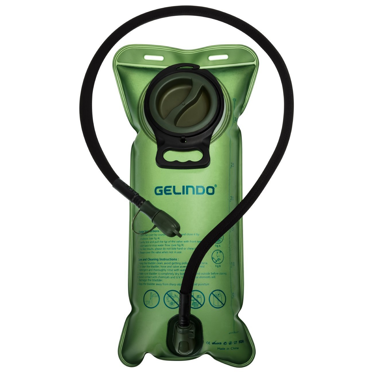 Gelindo Hydration Bladder 3 Liter 100oz, FDA Approved and BPA-Free Hydration Backpack Replacement, Large Opening and Quick Release Insulated Tube with Shutoff Valve by Gelindo