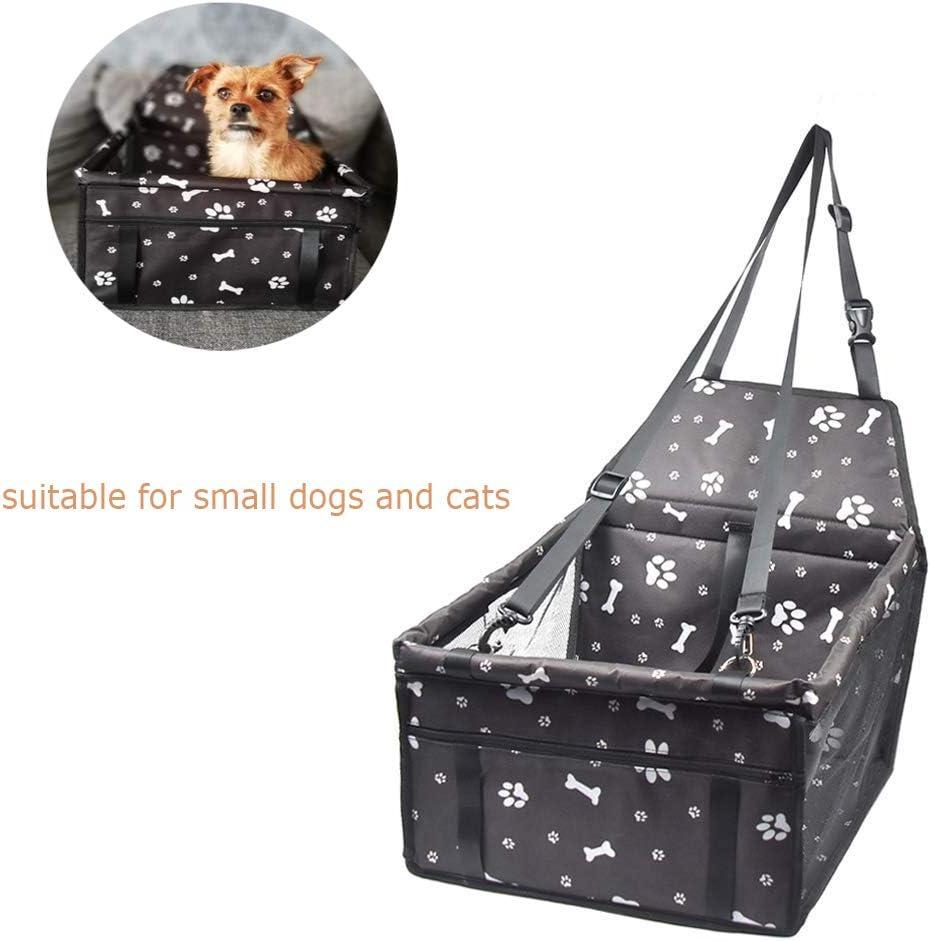 Capazos de Coche para Perros Asiento Elevador para Perros con Caja de Seguridad para Perros Seguridad para Mascotas Transpirable Perros Peque/ños o Gatos Impermeable y Plegable para Viajes
