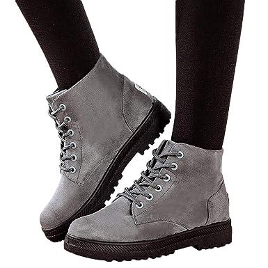 MYMYG Botas de Cordones Ajustado para Mujeres con Estilo Botines Planos de Mujer de Estilo Vintage Zapatos Suaves y Ajustados Botines de pies Botas ...