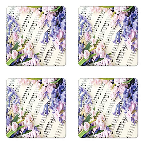 (Lunarable Sheet Music Coaster Set of 4, Hyacinth Flowers Musical Notes Music Book Photo, Square Hardboard Gloss Coasters for Drinks, Lavender Blue Pale Mauve and Off White)