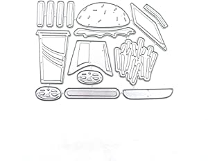 LZBRDY Hamburger French Fries Coke Cola Food Metal Cutting Dies for Card Making and Scrapbooking