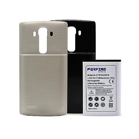 Perfine LG G4 Batería [6000mAh] Extendida para LG G4 / BL-51YF / H818 / H815 / H811 Batería de Repuesto con 2 Cubiertas Traseras (Negro-Oro) + (180 ...