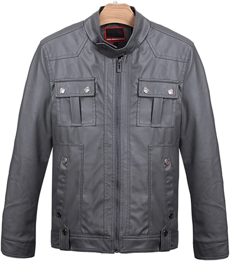 LJYH Mens Fall Stand Collar Thicken Motorcycle Faux Leather Jacket Grey