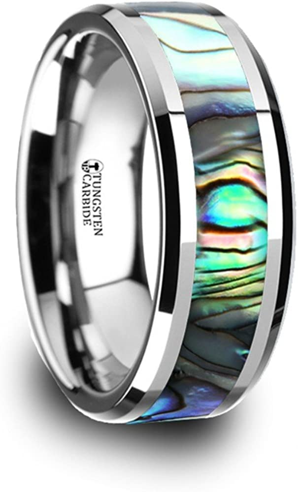 Thorsten Spartan Pipe Cut Flat Tungsten Carbide Ring 7mm Wide Wedding Band from Roy Rose Jewelry