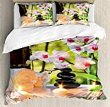 Ambesonne Spa Decor Duvet Cover Set Queen Size, Massage Composition Spa with Candles Orchids Stones in Garden, Decorative 3 Piece Bedding Set with 2 Pillow Shams
