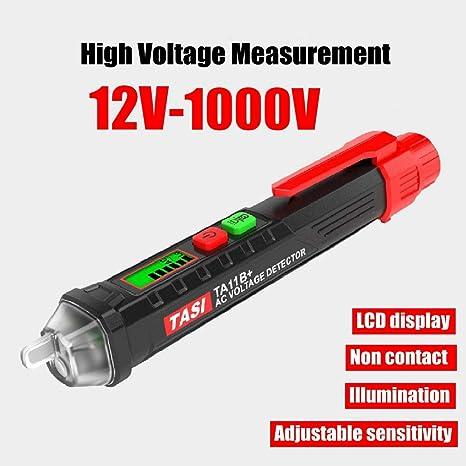 Detector de Voltaje con sensibilidad Ajustable RockSeed Pantalla LCD Bol/ígrafo probador de Voltaje CA sin Contacto Linterna LED Rango m/últiple 12V-1000V // 48V-1000V Alarma de zumbador