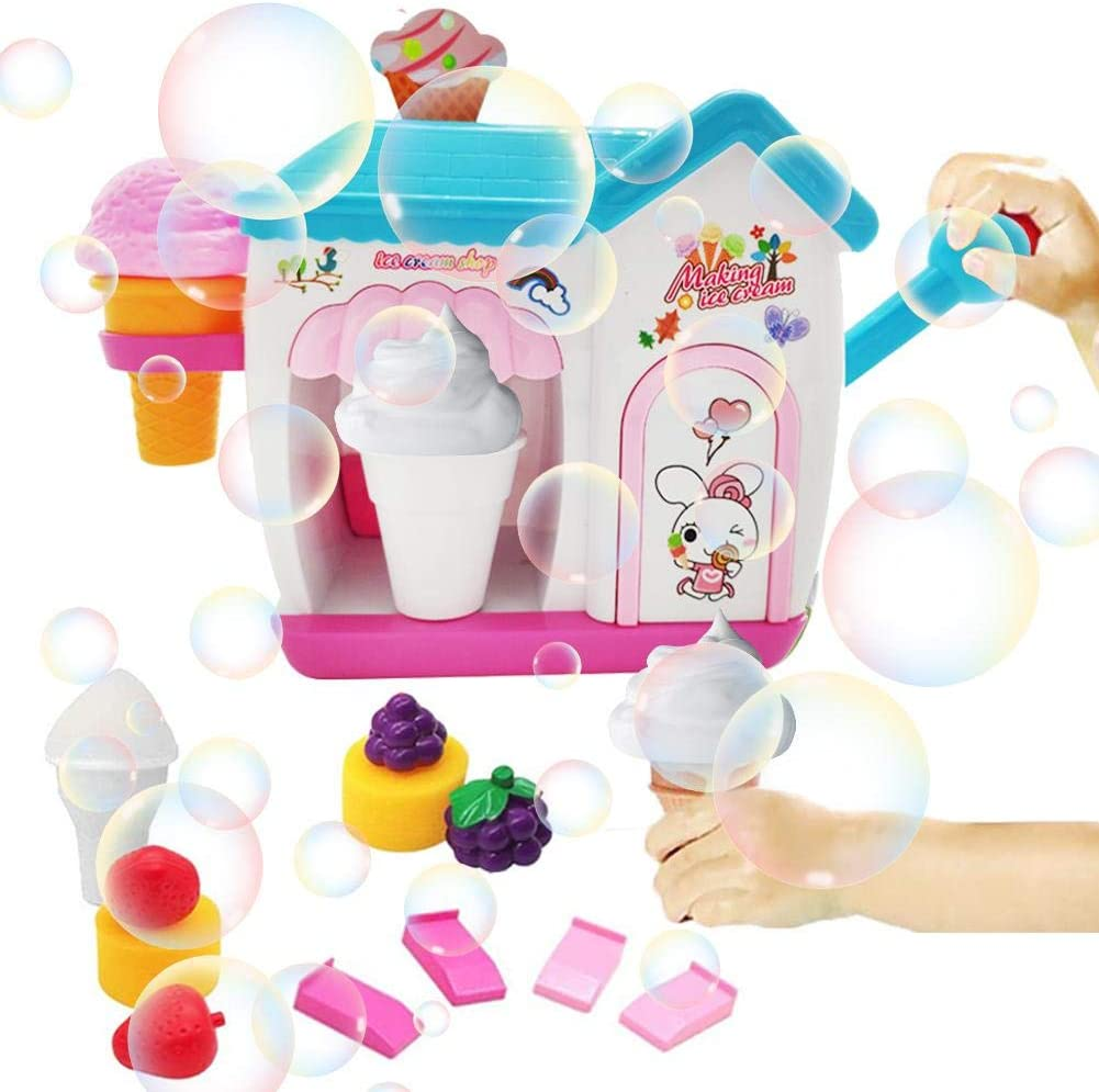 Bubble Machine for Kids, Durable Safe Bubble Machine Toy Ice Cream Blower Maker Bath Water Toy for Children Toddlers