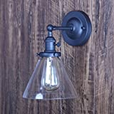 XIDING Premium Vintage Industrial Edison Simplicity Clear Glass Shade Wall Sconce Light, Upgrade Black Finish Wall Lamp, On/Off Rotary Switch on Socket, 1 Light