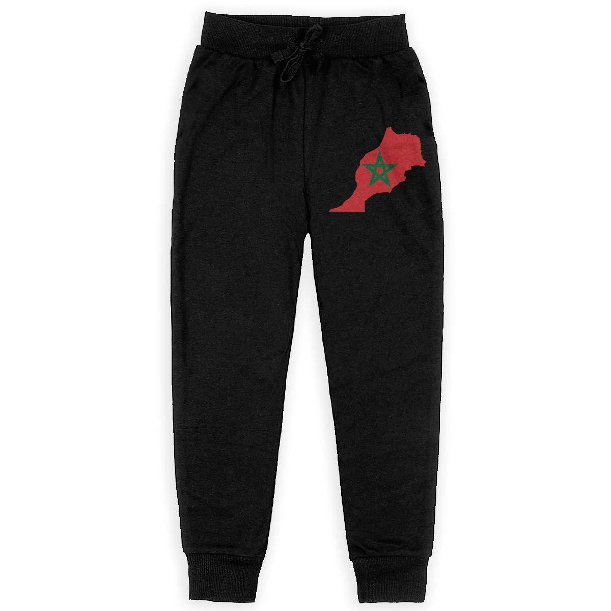 Dunpaiaa Morocco Flag Map Boys Sweatpants,Joggers Sport Training Pants Trousers Black