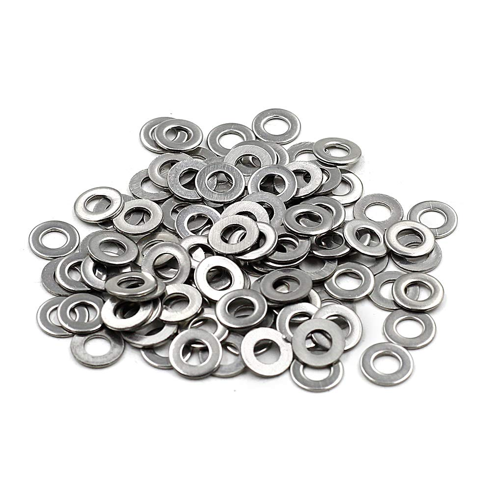 Yoohey 100pcs M4 Stainless Steel Round Flat Washers for Bolt Screw