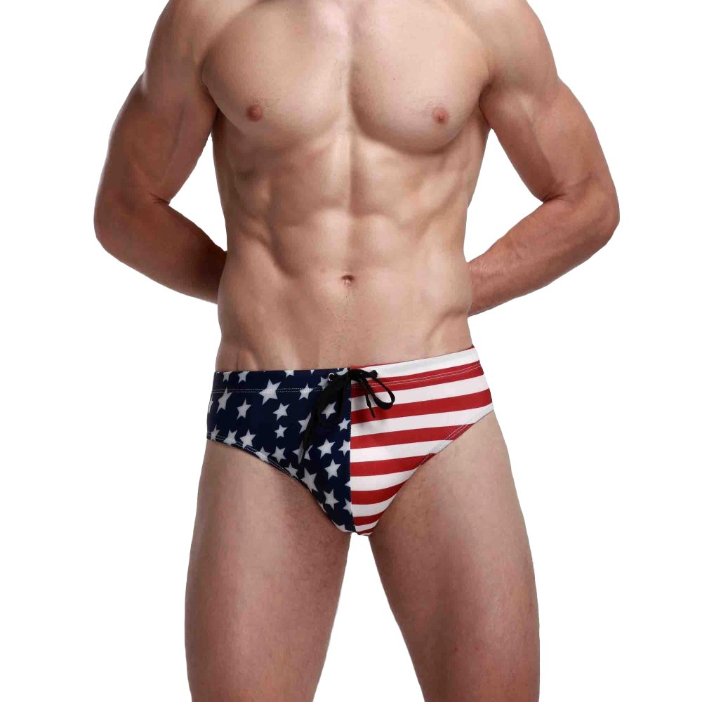 Ofocam Men's Briefs USA American Flag Underwear Bikini Swimsuit Beach Sport