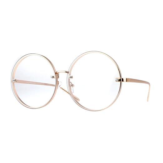 77a29bcd16 Amazon.com  SA106 Oversized Rimless Round Circle Lens Eye Hippie ...