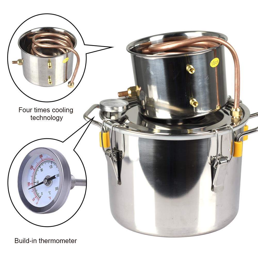 ECO-WORTHY 3 Gallon 12L 304 Stainless steel Alcohol Distiller Home Moonshine Water Distiller Wine Making Kit Home Brewing Kit 2 Pots