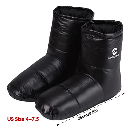 8283b7090 ... HARD Winter Down Booties Socks Slippers Warm Soft Cozy for Outdoor  Camping Sleeping Bag Indoor Down Filled Slipper Boots Ultralight 3 Size for Men  Women