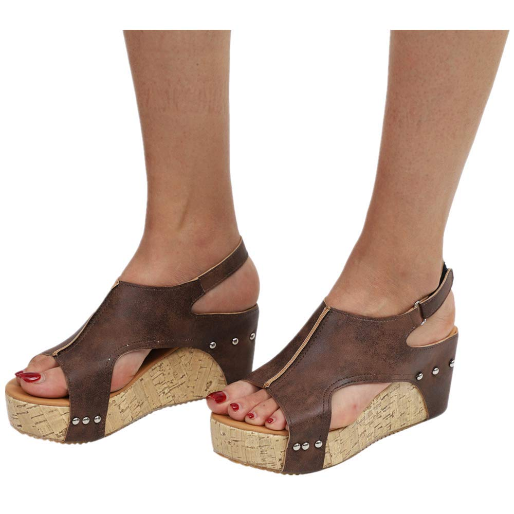 Women Open Toe Cutout Buckle Wedges Sandals,Studded Platform Faux Leather Cork High Heels Shoes (US:7.5, Brown) by Womens Sandals Hechun